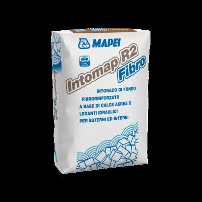 INTOMAP R2 FIBRO Intonaco di fondo fibrorinforzato a base di calce aerea e leganti idraulici per esterni ed interni