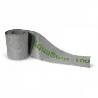 Aquastop 100 è un nastro impermeabile elastico in polietilene rivestito su ambo i lati per i giunti perimetrali