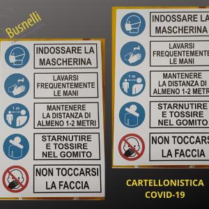 Cartellonistica Covid-19 per gli obblighi e la sicurezza