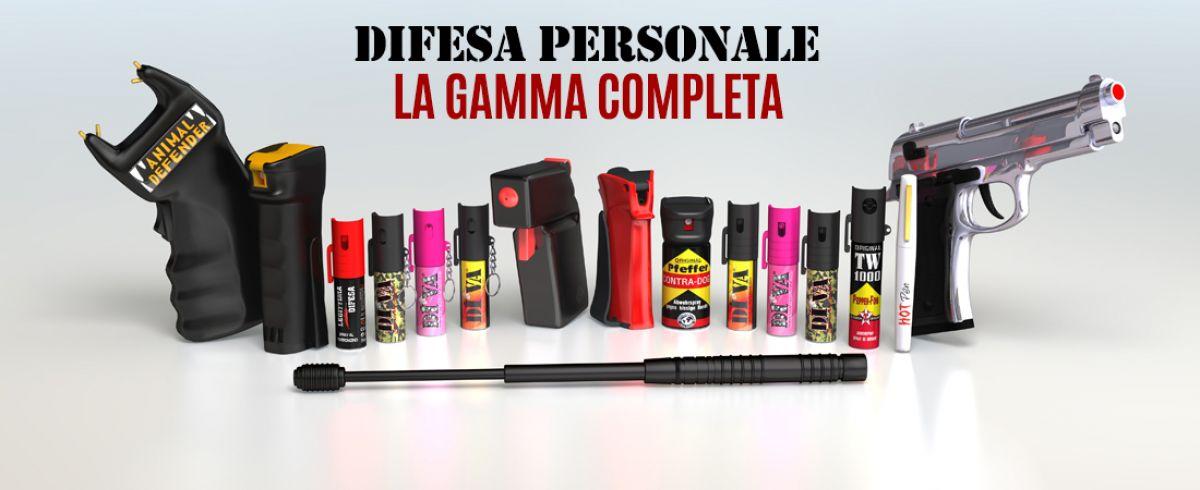 Prodotti per la difesa personale: spray antiaggressione, dissuasori sonori, bastoni telescopici, penne tattiche,ecc...