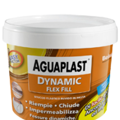 Dynamic Flex Fill 1kg  : stucco elastico ruvido in pasta fibrato per riempire, impermeabilizzare, e chiudere le fessure dinamiche fino a 10 mm di profondità