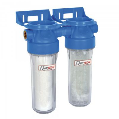 Kit di filtrazione da montare sull'alimentazione d'acqua, fornito con 1 cartuccia CFA e 1 cartuccia CSP