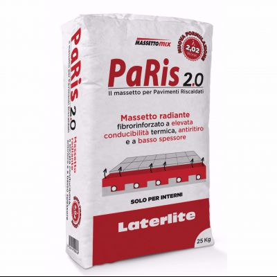 PaRis 2.0 è il massetto radiante fibrorinforzato ad elevata conducibilità termica, antiritiro e a basso spessore per impianti di riscaldamento / raffrescamento a pavimento