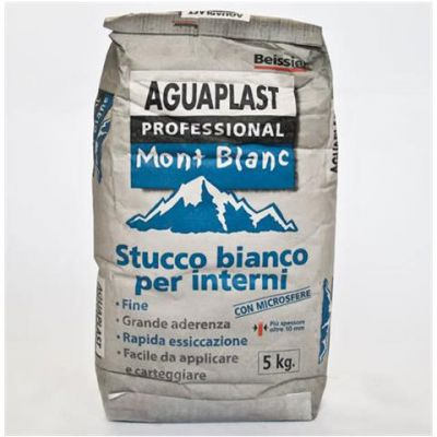MONT BLANC è uno stucco in polvere bianco traspirante, per rasature e riempimenti