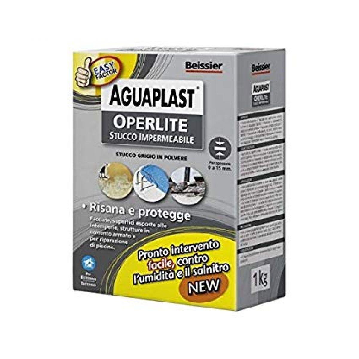 OPERLITE: stucco impermeabile grigio in polvere per risanare, impermeabilizzare, proteggere e per riparare le piscine, risana il cemento armato, e crea una barriera all'umidità ed al slmnitro,