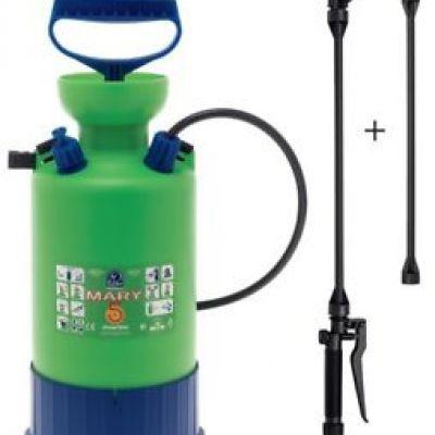 Pompe irroratrici capacità 5 lt, con valvola di sicurezza graduata, lancia con prolunga getto diritto e curvo.