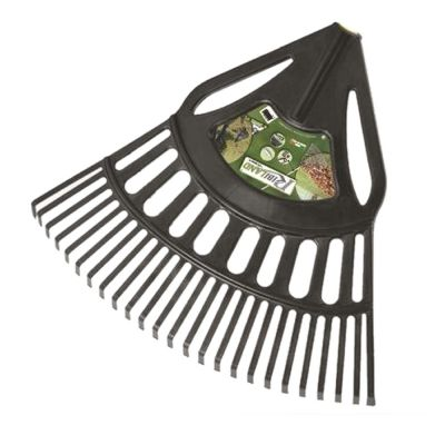 Scopa per foglie completa di manico, con struttura rinforzata e denti flessibili