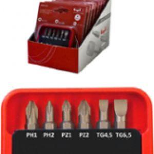 SET INSERTI 7 PEZZI - 2 PZ PH1 + PH2 - 2 PZ CROCE PZ1 +  PZ2 - 2 PZ A TAGLIO - N1 PORTAINSERTI MAGNETICO