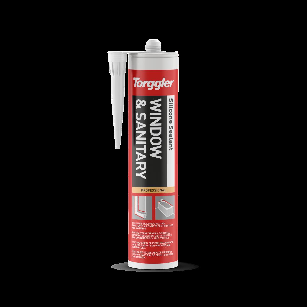 Sigillante siliconico neutro resistente alle muffe per serramentistica e uso sanitario.